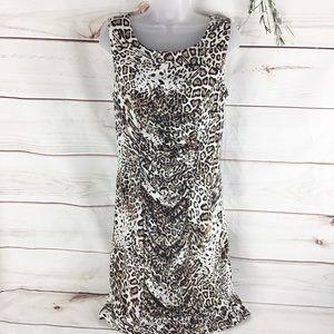 Calvin Klein Leopard Print Sleeveless Career Dress